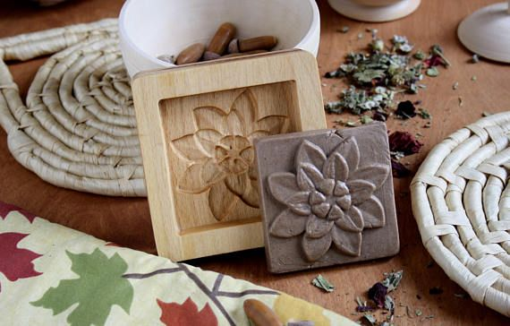 Cookies Stamp Lotus Woodwork Art Kashigata Home Decor