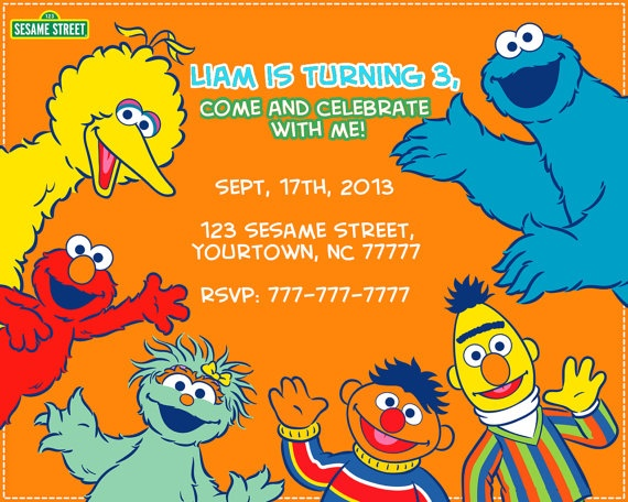 Sesame Street Birthday Invitation Personalized Custom Printable Digital File