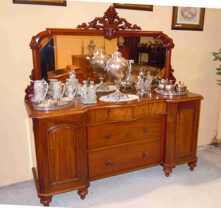Gorgeous original Victorian Buffet Sideboard In Solid Mahogany And Psyche Mirror