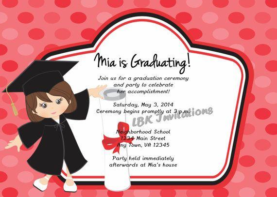 Custom Child Graduation Party Invitation Girl by ...