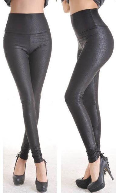 Deep Black Leggings Faux Leather Leg Wear Stockings  $18.37