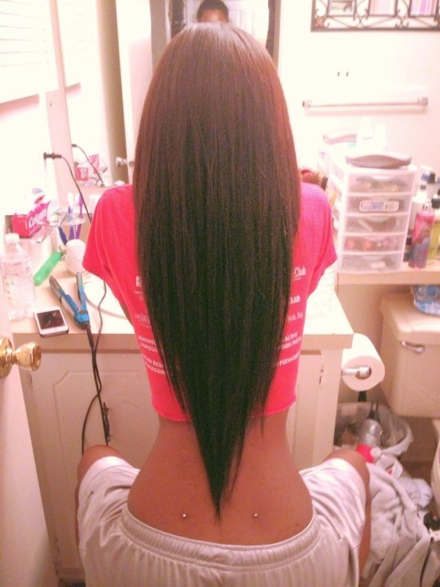 Tell stylist: I want to maintain my Long, layered, V-shaped cut. Keep long length trim split ends quarter of an inch