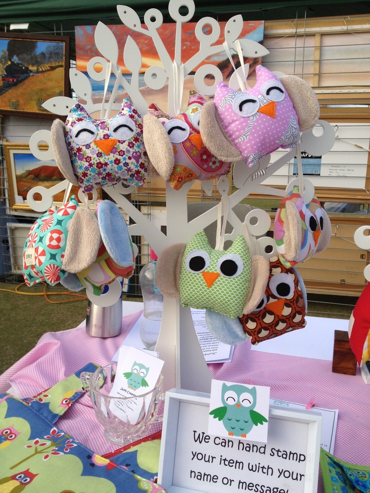 Display of baby Owl Softies at Market by JuMi Creations