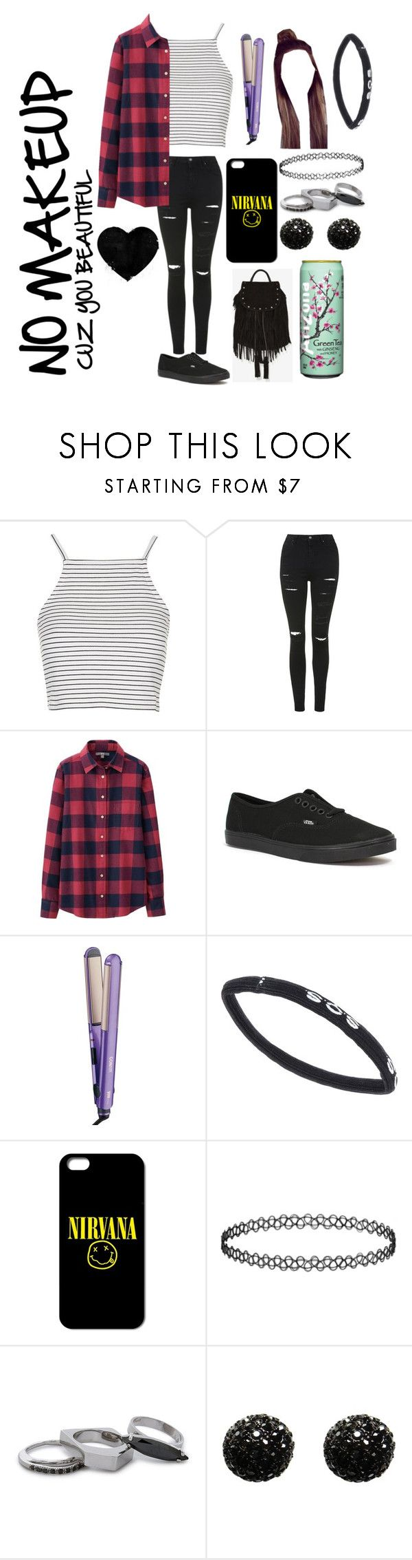 """""""we're all mad here.."""" by i-found-wonderland ❤ liked on Polyvore featuring Topshop, Uniqlo, Vans, Conair, S.O.S By Orza Studio, Iosselliani, Kenneth Jay Lane and Maison Scotch"""
