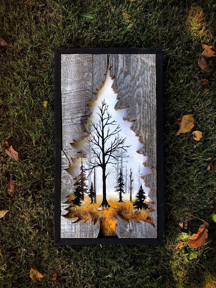 """This piece is made on reclaimed wood with a beautiful painting of a foggy fall morning within. Measures at 10""""x18"""". This piece is made to order and takes 1-2 weeks prior to shipping."""