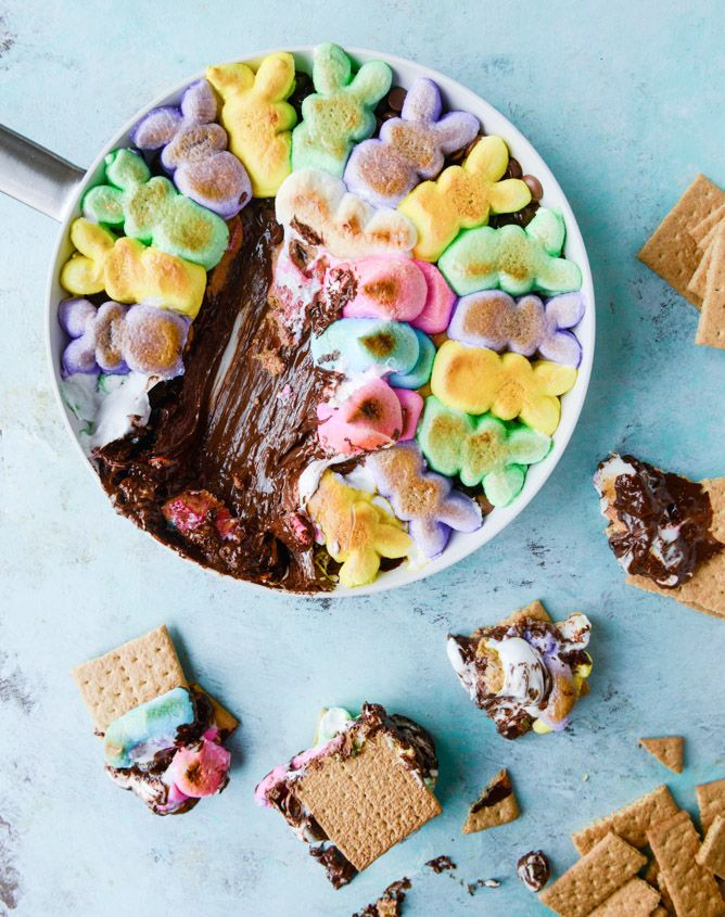 Oh my word!!! chocolate peanut butter peeps skillet s'mores
