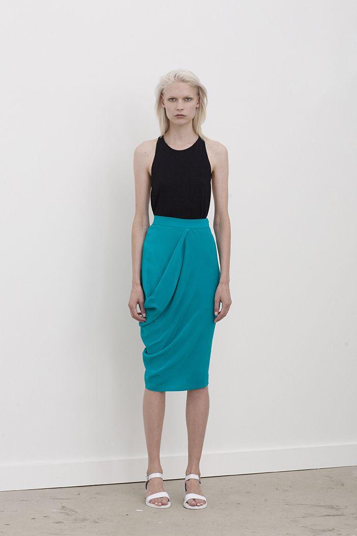 Katlin high waisted skirt with waist to hip drape worn with Filda racer back singlet