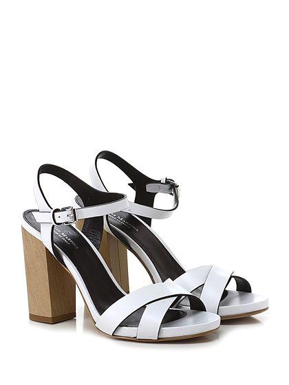 Miss Martina - Sandalo alto - Donna - Sandalo alto in pelle con cinturino alla caviglia e suola in cuoio. Tacco 105, platform 15 con battuta 90. - BIANCO - € 175.00