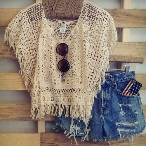 ☯☮ॐ American Hippie Bohemian Style ~ Boho Summer Crochet Tank, Lennon sunglasses