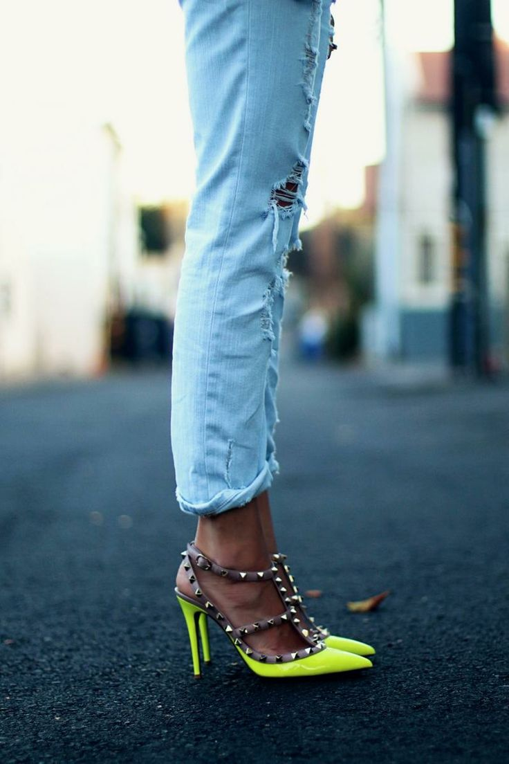 neon rock studs paired with light wash distressed denim - so good.