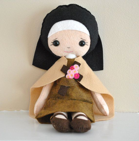 Hand-stitched and made of wool blend soft durable felt this sweet doll will be a great friend to your little one. This Saint Therese of Lisieux