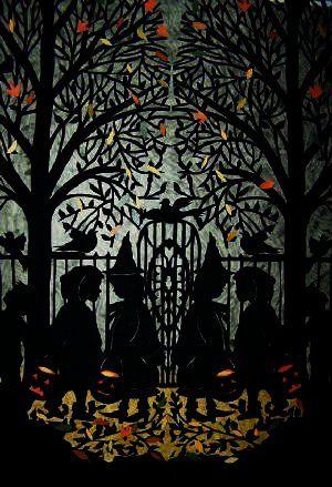 Beautiful Halloween silhouette art. #vintage #Halloween #silhouettes