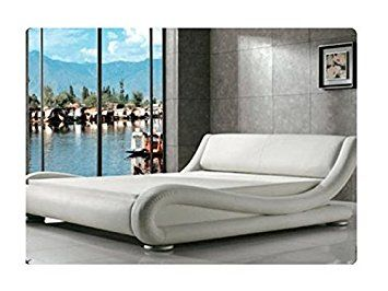 Ezra Faux Leather Italian Designer Bed 4FT6 Double and 5FT King Size Frame Only (5FT, White)