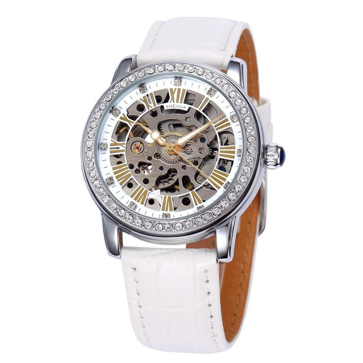 High Quality SHENHUA Fashion Rhinestone Embedded Skeleton Self-winding Mechanical Watch Soft PU Leather Watchband Analog Women Wristwatch