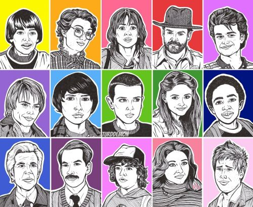 Stranger Things Cast by Allyson Gutchell, 2016 Ink and Acrylic Paint