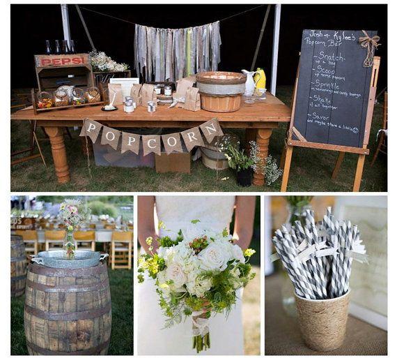POPCORN BURLAP BANNER - Wedding Banner- Sweets table- Wedding sign - Photography shoot - Birthdays - Events on Etsy, $28.00