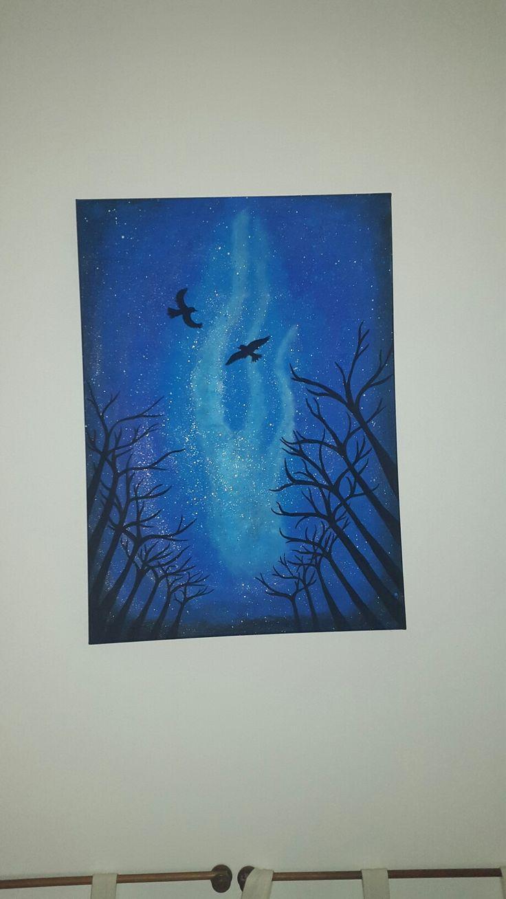 Acrylic painting, night sky, flying birds