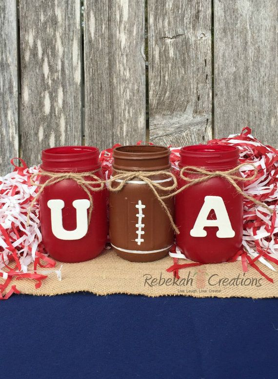 University of Alabama Mason Jars, Alabama Dorm Decor, Roll Tide, Alabama Crimson Tide, Alabama Tailgate