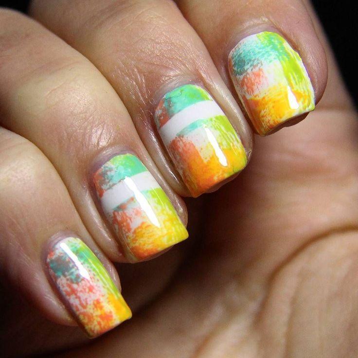 "Here is my manicure for the next round of #wnac2016 whose topic was ""dry brush"".  #manicure #mani #drybrush #drybrushnails #nailart #nailsoftheday #notd #spring #april #springnails #colours #springcolours #nails #mutiakörmöd #körmök #manikűr #nageldesign #frühling #tavasz #színes #színek #nailartchallenge #challenge #instanails by zsebboszi"