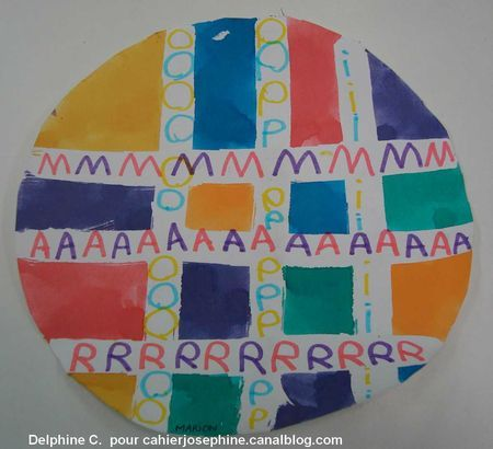 quadrillage en réserve au drawing gum et graphisme des lettres