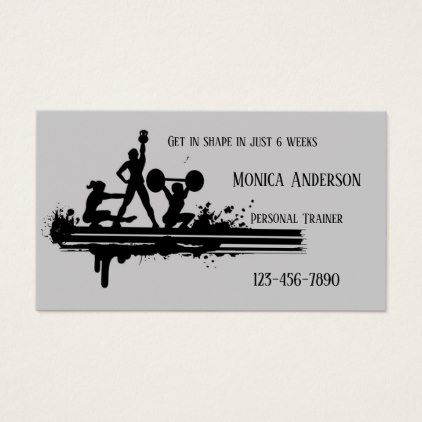 Black Grey Personal Fitness Trainer Business Card - minimalist office gifts personalize office cyo custom