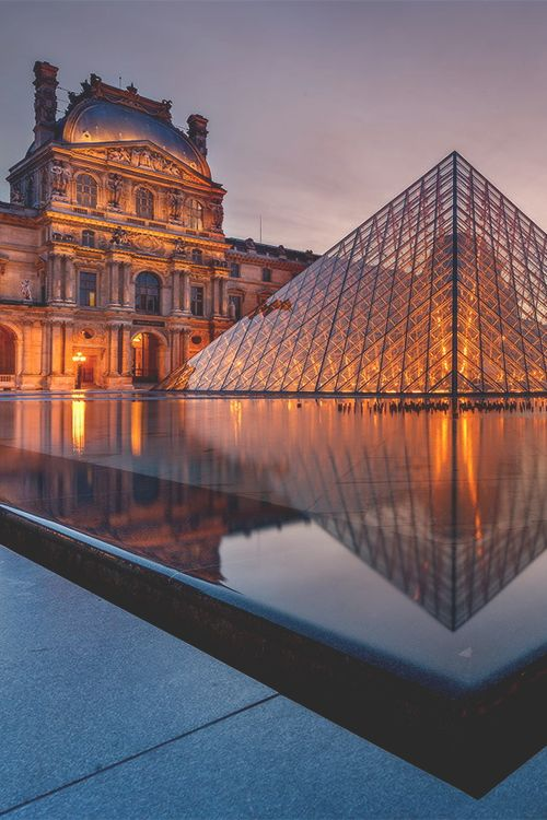 The #Louvre is so great it's even beautiful from the outside, especially at dusk. I.M. Pei's #pyramid kicks!