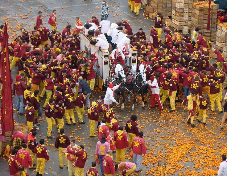 The Historical festival of Ivrea which widely known as Battle of the Oranges (Battaglia delle Arance) which includes a tradition of throwing of oranges between organized groups during which people ...
