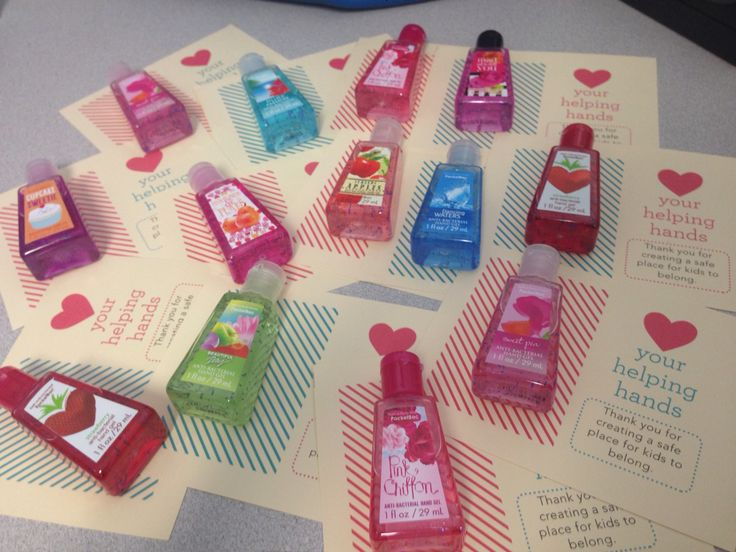 """Valentine's winter Volunteer appreciation gift. Hand sanitizer from Bath and Body Works with cards that say: """"❤️your helping hands. Thank you for creating a safe place for kids to belong."""""""