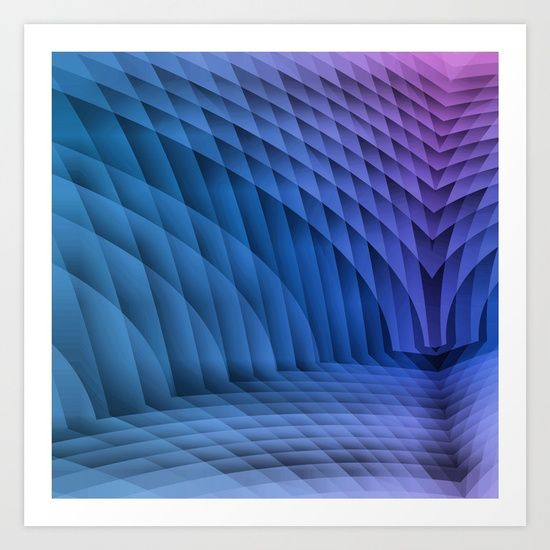 Geometric Path Blue-Pink Art Print by Terrella.  Collect your choice of gallery quality Giclée, or fine art prints custom trimmed by hand in a variety of sizes with a white border for framing.
