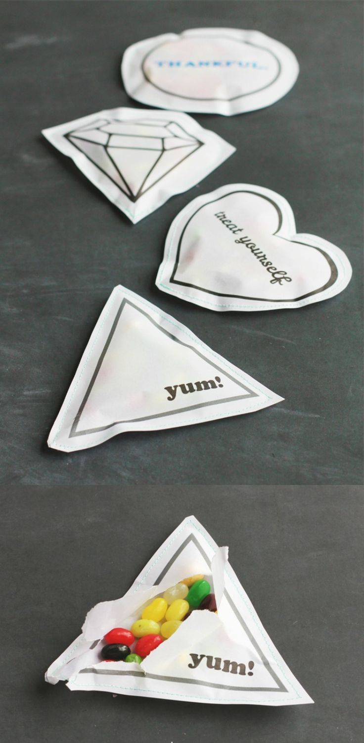"""Treat yourself"" sewn paper treat packs - easy to make, and make perfect party favors!"