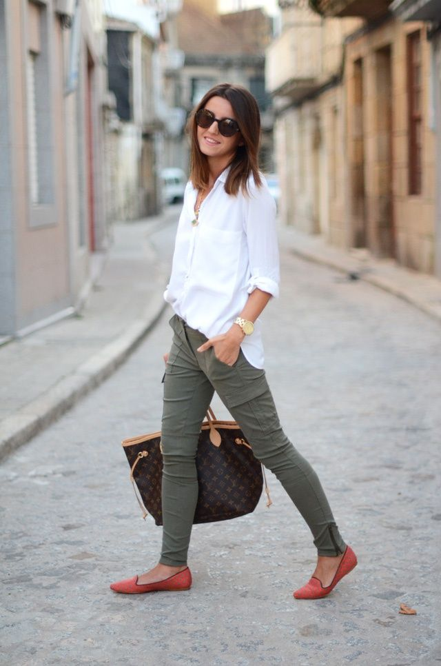 I love these skinny cargo pants.  I like the fit, with the side pockets and the ankle zipper.  It looks really good with the red flats and bright white shirt. I also love these shoes!