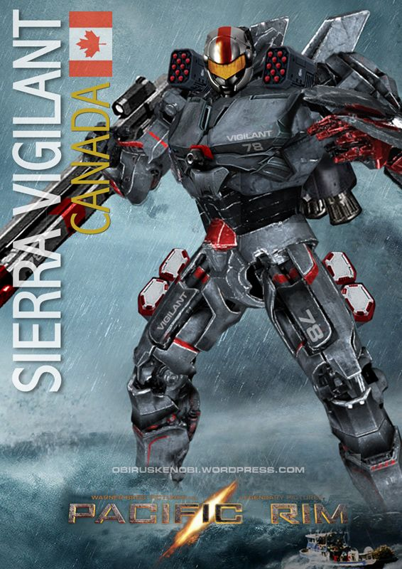 PACIFIC RIM CANADIAN JAEGER SIERRA VIGILANT 2.0 : Upgraded Sierra Vigilant to 2.0, slimmed down the rail gun, upgraded missile pods, increased armour, center chest plasma cannon & thruster pack.