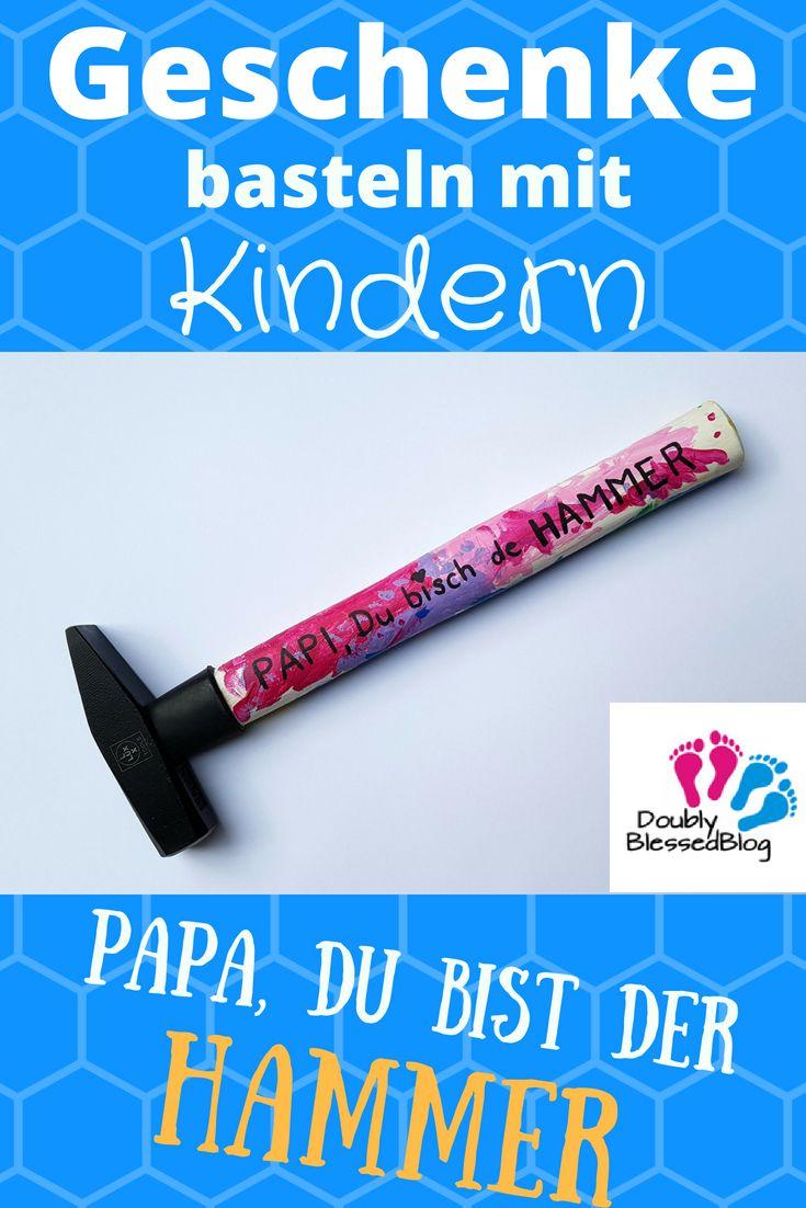 Geschenke basteln mit Kindern – Selbst bemalter Hammer