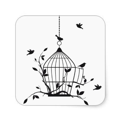 Oiseaux libres avec la cage à oiseaux ouverte autocollants carrés ...
