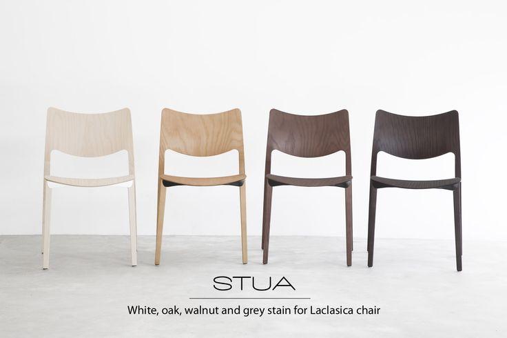 STUA launches two new stain tones for the Laclasica chair: oak and walnut stain. The ones in the middle of this image. LACLASICA: www.stua.com/eng/coleccion/laclasica.html STUA presenta la silla Lacasica en dos nuevos acabados: fresno teñido en tono roble y tono nogal. ¡Así puede adaptarse a mayor número de proyectos! LACLASICA: www.stua.com/esp/coleccion/laclasica.html