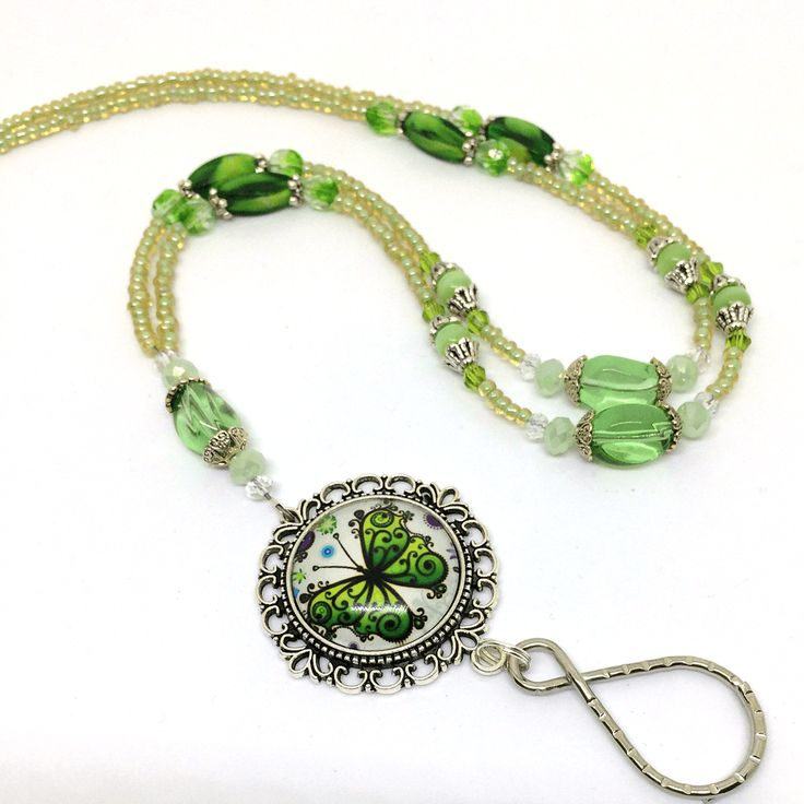 Spring Green Butterfly Beaded ID Badge Lanyard with Silver Filigree Pendant and Glass Dome Cabochon