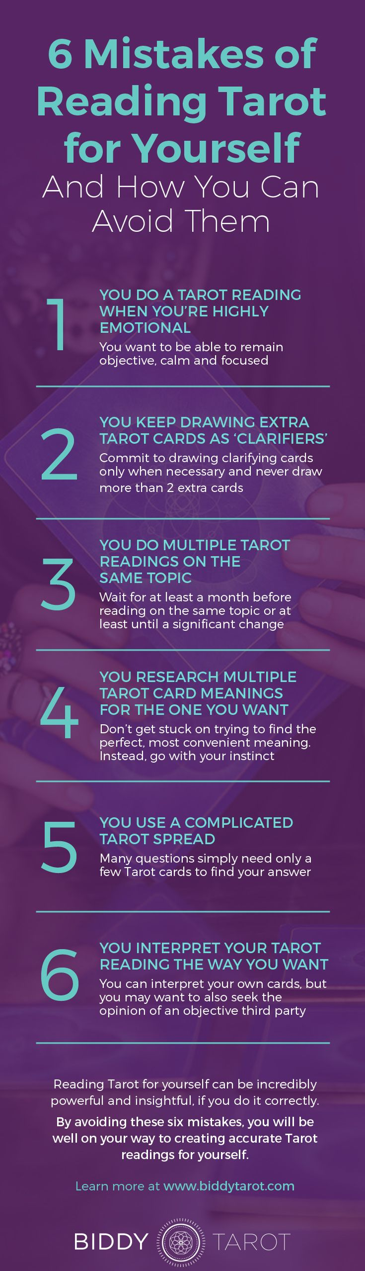 Learn the top 6 mistakes of reading #tarot for yourself.