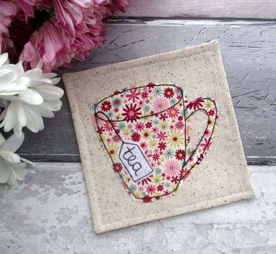 Pretty Floral Mug Coaster Fabric Coaster by TheCornishCoasterCo