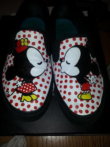 Adult minnie mickey kiss hand painted shoes by ShoesbyShawndy, $55.00