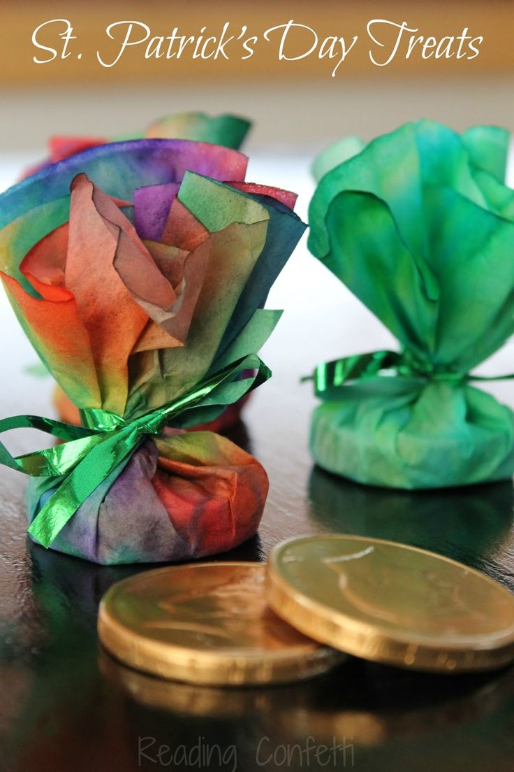 Package gold coins for St Patrick's Day using a coffee filter