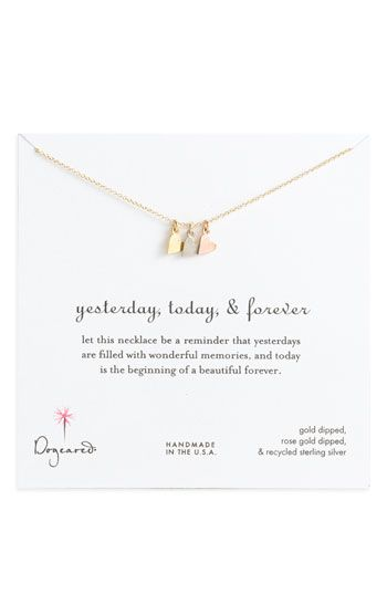 Dogeared 'Yesterday, Today, Forever' Charm NecklaceFriends Gift, Sisters Gift, Charms Necklaces, Anniversaries Gift, Boxes Charms, Gift Ideas, Travel Accessories, Dogeared Yesterday, Bridesmaid Gift