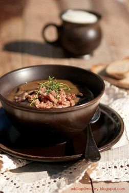 Cream of #Mushroom #Soup with Buckwheat and Bacon