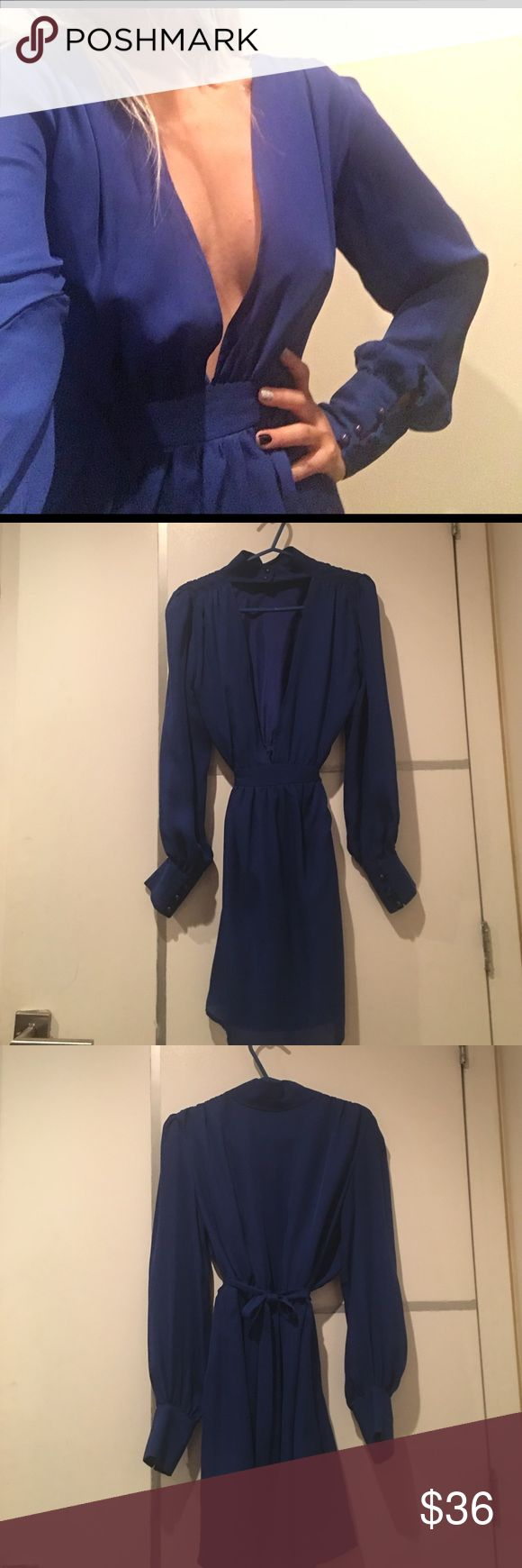Hanukkah Hottie - low V neck vintage dress This dress can seriously be worn frontwards and backwards! either for a low V neck or a low back look. Vintage label. Beautiful cobalt blue, 80's style power shoulders , classy 3 buttons on the cuff, and a choker style collar. Scarlette & O Dresses Midi