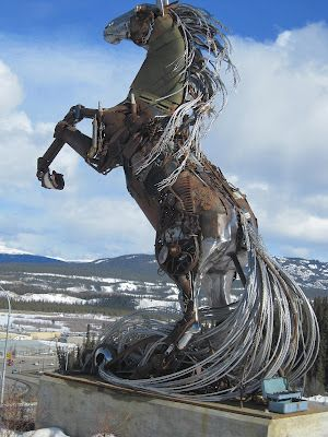 The Whitehorse Horse - Yukon, Canada. Each piece of metal was donated by a Yukoner, representing both the city's name and the fact that they are all responsible for the shaping of the Yukon each in their own small way. Created by artist Daphne Mennell along with welder Roger Poole in 2011.