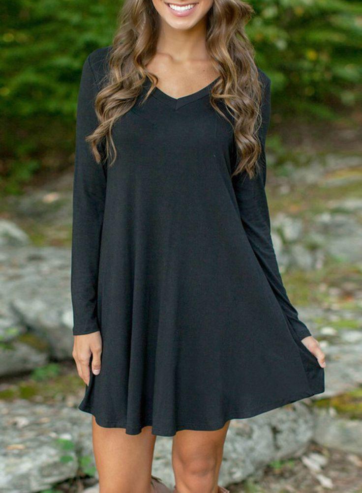 Black V Neck Long Sleeve Stretch Knit Trapeze Dress