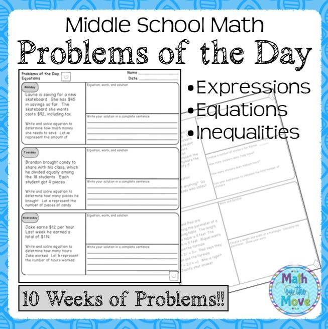 Daily Word Problems For Middle School Math Expressions