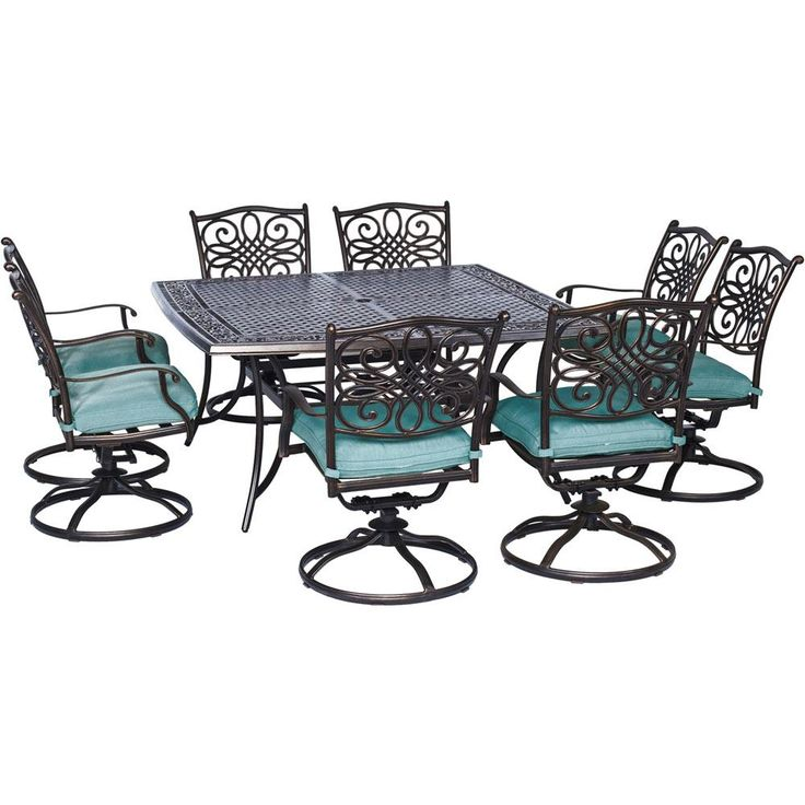 Cambridge Seasons 9-Piece All-Weather Square Patio Dining Set with Ocean Blue Cushions and 8 Swivel Dining Chairs