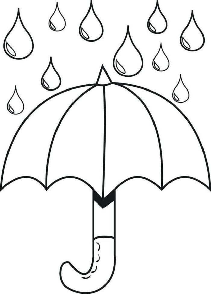 Raindrops And Umbrella Coloring Pages   Spring coloring ...