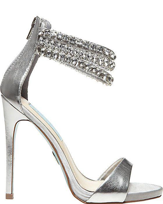 SB-MARRY BLUE women's evening high ankle strap. Silver HeelsDress  ShoesShoes SandalsBridal ShoesBetsey JohnsonAnkle ...