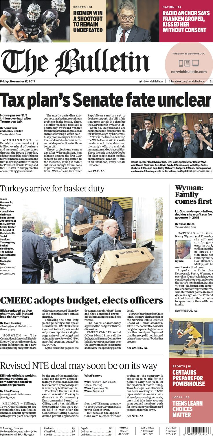 Friday, November 17, 2017 - Subscribe to The Bulletin today: http://www.norwichbulletin.com #ctnews #newlondoncounty #windhamcounty